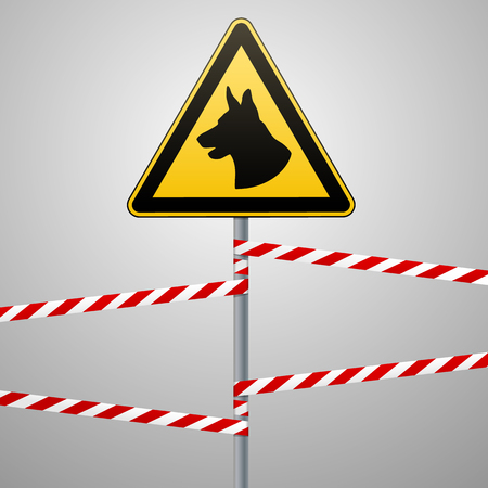 aution - danger Be aware of dogs area is guarded by dogs. Warning sign safety. sign on the pole and warning bands. Gray background. Vector illustration. Çizim