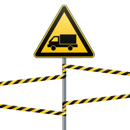Caution - danger Warning sign safety. Beware of the Car. yellow triangle with a black image. sign on the pole and protecting ribbons. Vector Image.