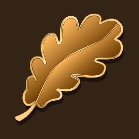 Eikenblad. gestileerd sieraad. chocolade en gouden kleuren. vectorillustratie
