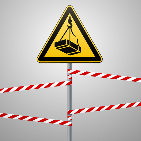 Caution - danger May fall from the height of the load. Safety sign. triangular sign on a metal pole with warning bands. Light background. Vector illustration. Illustration