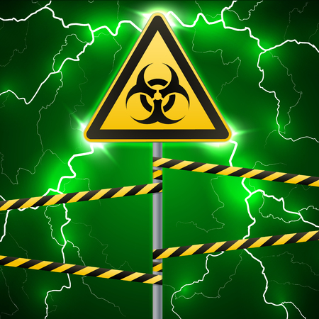 virus bacteria: Warning sign. Biological hazard. Fenced danger zone. pillar with sign. Thunderbolts. Outbreak sparks. Fantastic background. Vector illustration
