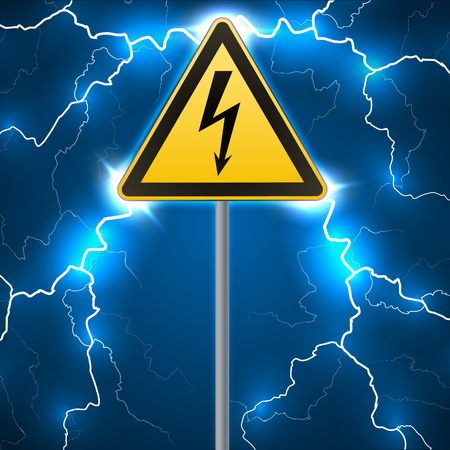 Warning sign. Electrical hazard. Fenced danger zone. pillar with sign. Lightning strikes. Flash arcing. Fantastic background. Vector illustration