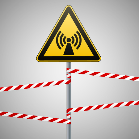 Safety sign. Caution - danger Electromagnetic field. Barrier tape. Vector illustration