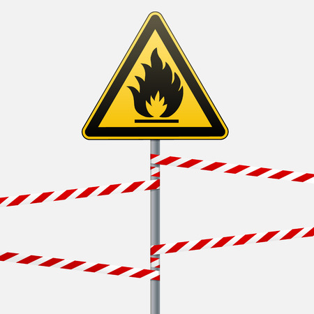 combustible: Caution - fire hazard Combustible environment. Flammable liquids or surface. Barrier tape. Vector illustration