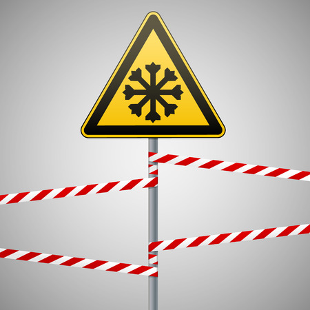Carefully cold. Warning sign safety. pillar with sign and warning bands. Vector illustration Illustration