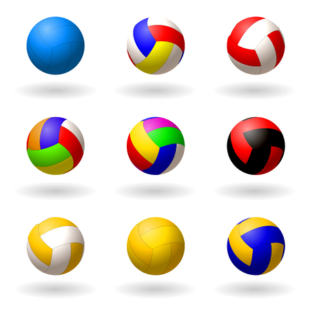 Ball for volleyball. set of multi-colored balls for volleyball, pioneball, handball. Sport and recreation. Objects on white background. Vector illustration