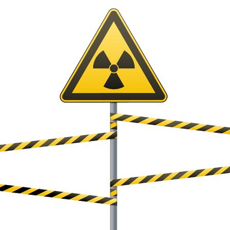 Warning sign on pole and warning bands. Sign of radiation hazards. Vector illustration.