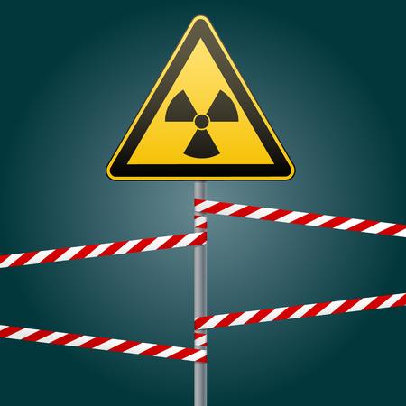 Warnschild an Pfosten und Warnbändern. Zeichen von Strahlungsgefahren. Vektor-Illustration. Illustration