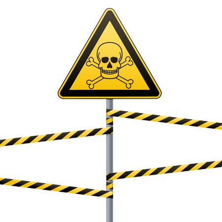 Vorsicht - Gefahr Warnschild Sicherheit. Giftige und gefährliche Substanzen. Todgefahr - Gift. gelbes Dreieck mit schwarzem Bild. Zeichen auf der Stange und Schutzbänder. Vektorbild.