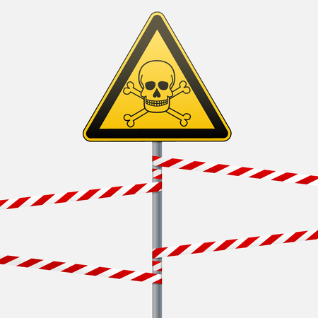 Caution - danger Warning sign safety. Poisonous and hazardous substances. Mortal danger - poison. yellow triangle with black image. sign on the pole and protecting ribbons. Vector Image. Illustration