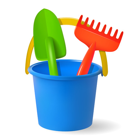 Toys for sandbox. Baby bucket, rake, scapula colored objects on white background Vector illustration