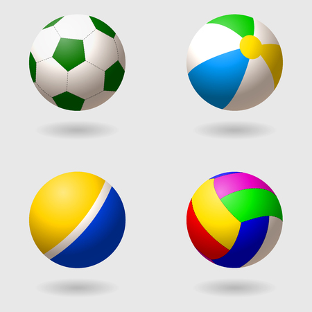 Set of children s balls for different games. Football, volleyball, inflatable beach ball and rubber palatial ball. Isolated objects. Vector illustration
