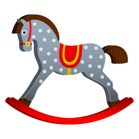 hobbelpaard. speelgoed voor kinderen. klassieke houten schommel. vectorillustratie