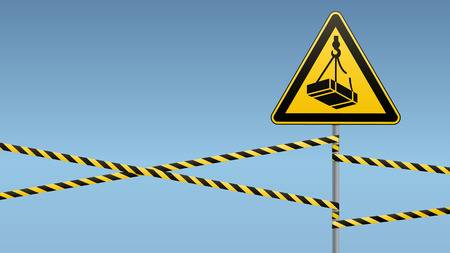 Caution - danger May fall from the height of the load. Safety sign. triangular sign on metal pole with warning bands. Light background. Vector illustration. Illustration