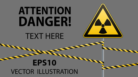 uranium: Warning sign on a pole and warning bands. Sign of radiation hazards. Vector illustration.