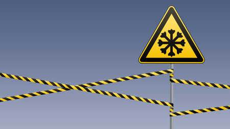 Warning sign safety, pillar with sign and warning bands.