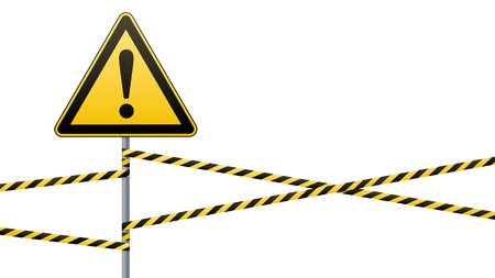 Caution - danger Warning sign safety. yellow triangle with black image. sign on pole and protecting ribbons. Vector illustration Illustration