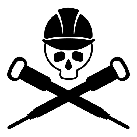 Black and white picture of the skull in the building helmet. Crossed hammers. Vector illustration