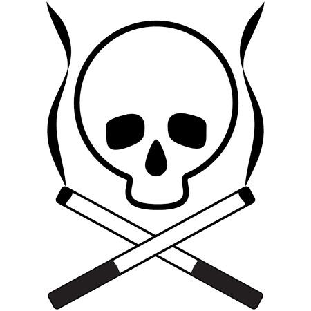 deathly: Skull with crossed cigarettes. Black and white icon. Propoganda tobacco control. Vector illustration