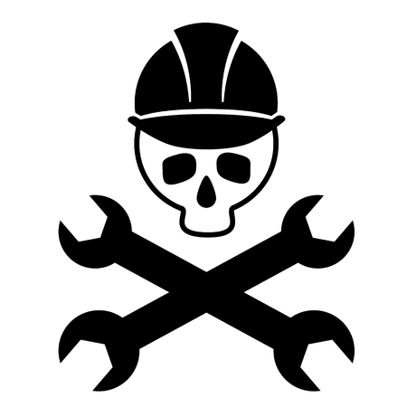Black and white picture of skull in construction helmet with crossed wrenches. Illustration