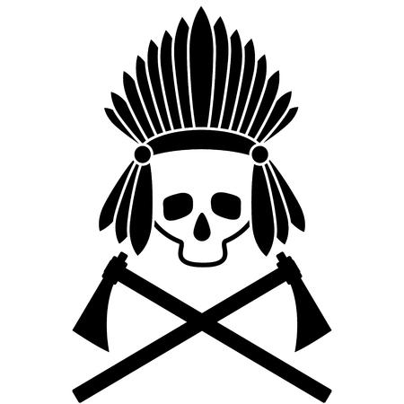 Skull indian chief. Illustration