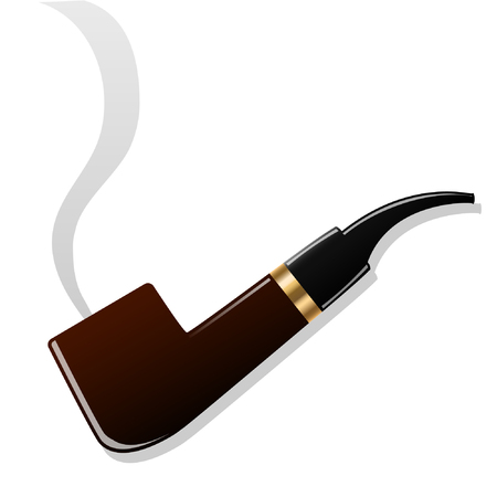 Smoking pipe. Isolated object. White background. Vector illustrations.