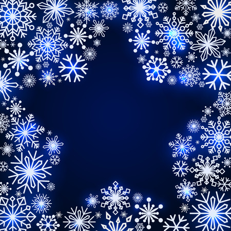 Snowflake frame in the shape of a star. Winter theme. New Year s and Christmas. Snowflakes of different shapes and sizes. Vector Image. Ilustrace