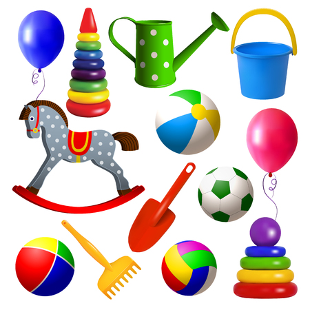 Set toys for young children. Ball, swing, rocking horse, balloon, pyramid, sandbox toys. Realistic isolated colored objects on white background. Vector illustration.