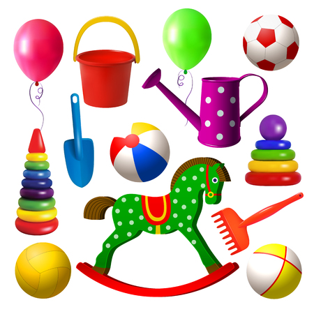 Kids toys. Set of different toys for outdoor games. Ball, bucket, shovel, wooden rocking horse, pyramid, watering can. Games for early childhood children. Isolated objects. Vector illustration. Vettoriali