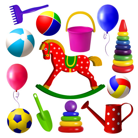 Kids toys. Set of toys for children of early childhood age. Outdoor games, sandbox tools, ball, pyramid, wooden swing horse. Isolated objects. Vector illustration.