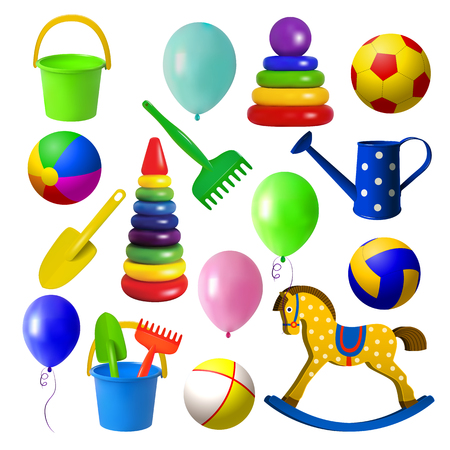 Toys for children. Set toys for sandbox, rocking horse, various balls and balloons. Isolated objects on white background. Vector illustration. Vettoriali