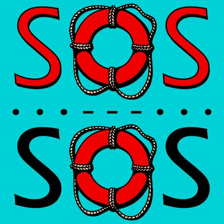 SOS. The international distress signal in telegraphy using Morse code. Vector illustration