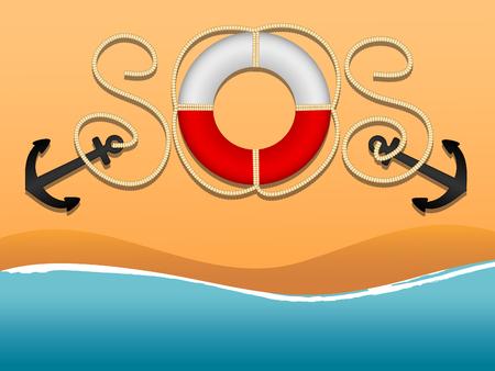 国際遭難信号と助けを求めます。ロープやブイの命の銘刻文字の形で SOS。アンカー、救命浮環、海を談合します。ビーチと波。フラットな漫画のスタイル。ベクトル図