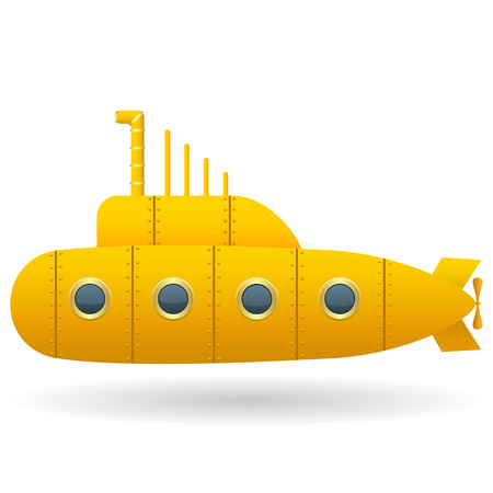 Yellow Submarine . White background. Cartoon style. Isolated object. Vector Image.