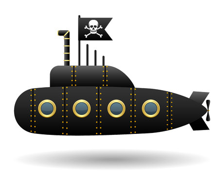 Black pirate submarine. Jolly Roger flag. White background. Cartoon style. Isolated object. Vector Image.
