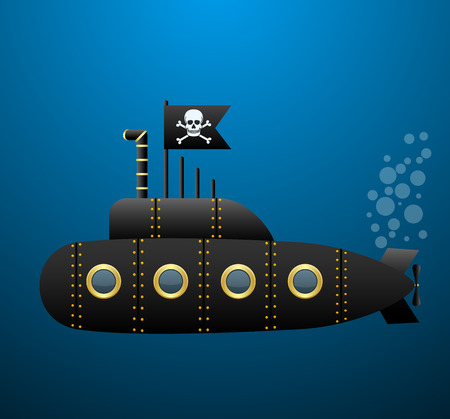 privateer: Black pirate submarine under the water . Jolly Roger flag. Cartoon style. Vector Image.