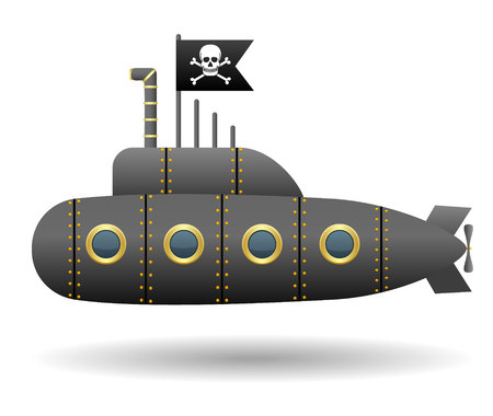 privateer: Black pirate submarine. Jolly Roger flag. White background. Cartoon style. Isolated object. Vector illustration