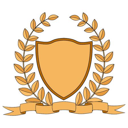 Heraldry. Shield, ribbon laurel wreath. white background Vector illustration