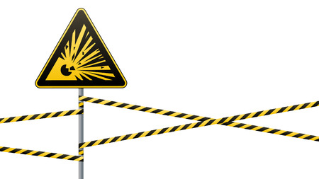 Caution - danger Warning sign safety. Explosive substances. yellow triangle with black image. sign on pole and protecting ribbons. Vector illustration. Stock Photo