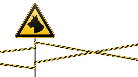 Vorsicht - Gefahr Achten Sie auf Hundebereich wird von Hunden bewacht. Warnzeichen Sicherheit. Schild an der Stange und Warnbänder. Weißer Hintergrund. Vektor-Illustration. Standard-Bild