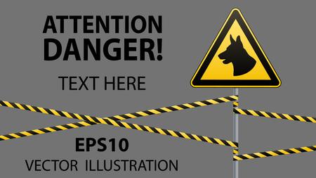 エリアは、犬によって守られている犬の注意の危険があります。警告サイン安全。ポールと警告バンドに署名します。灰色の背景。ベクトルの図。