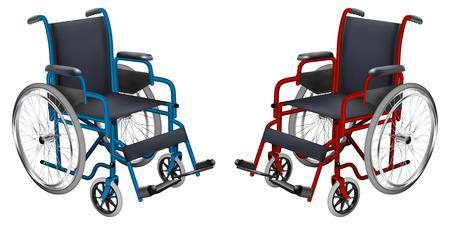Rollstuhl in blauen und roten Farben. Vektorgrafik