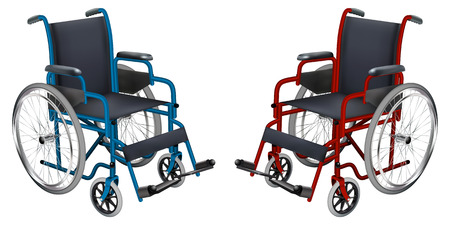 Wheelchair in blue and red colors. Ilustração