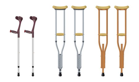 Set of crutches. Elbow crutch, telescopic metal crutch, wooden crutch. Medical equipment for rehabilitation of people with diseases of musculoskeletal system. Isolated objects. Vector illustration. Ilustração