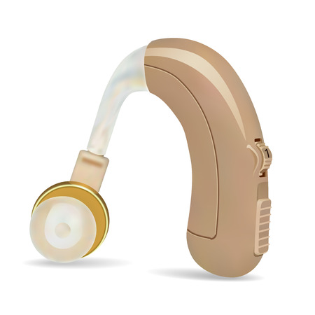 Hearing aid behind the ear. Sound amplifier for patients with hearing loss. Treatment and prosthetics in otolaryngology. Medicine and health. Realistic object on white background.