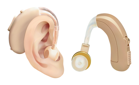 Hearing aid behind the ear. Sound amplifier for patients with hearing loss. Treatment and prosthetics in otolaryngology. Medicine and health. Realistic object. Vector Ilustrace