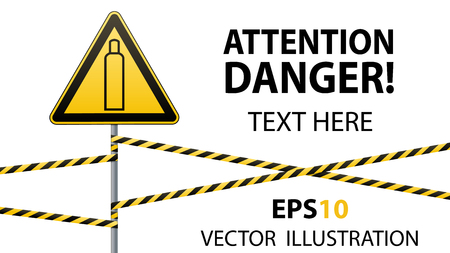 Gas bottle. Attention is dangerous. Warning sign. Safety technology. Triangular sign on the pillar and barrier tape. Isolated object. White background. Vector illustrations.