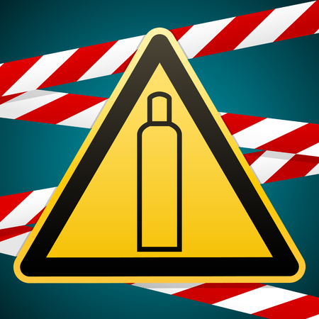Gas bottle. Attention is dangerous. Warning sign. Barrier tape. Striped red white tape. Safety technology. Yellow triangle with black image. Vector illustration.