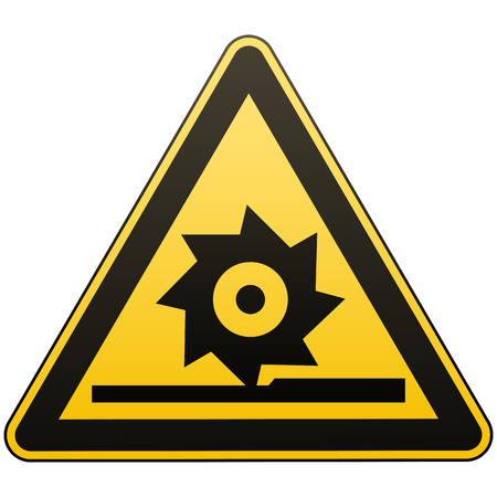 Carefully cutting shafts. Occupational Safety Sign. Measures to ensure safe operation in the workplace. Black image on a yellow triangle. Isolated object. Vector illustrations.