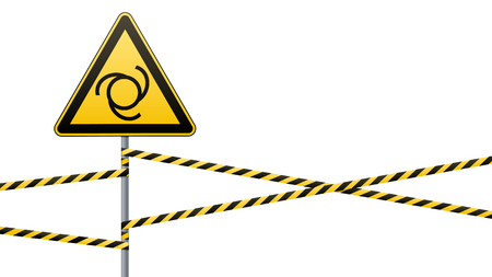 Safety sign. Caution - danger Automatic start of equipment. Barrier tape and sign on pole. White background. Vector illustrations.